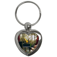 Funny Parrots In A Fantasy World Key Chains (heart)  by FantasyWorld7
