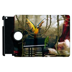 Funny Parrots In A Fantasy World Apple Ipad 2 Flip 360 Case by FantasyWorld7