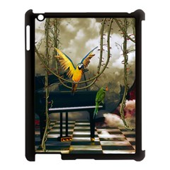 Funny Parrots In A Fantasy World Apple Ipad 3/4 Case (black) by FantasyWorld7