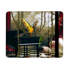 Funny Parrots In A Fantasy World Samsung Galaxy Tab Pro 8 4  Flip Case by FantasyWorld7