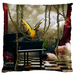 Funny Parrots In A Fantasy World Standard Flano Cushion Case (two Sides) by FantasyWorld7