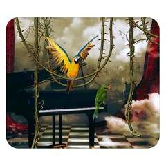 Funny Parrots In A Fantasy World Double Sided Flano Blanket (small)  by FantasyWorld7