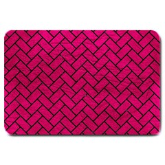 Brick2 Black Marble & Pink Leather Large Doormat  by trendistuff