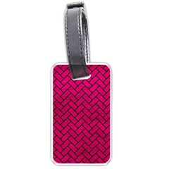 Brick2 Black Marble & Pink Leather Luggage Tags (two Sides) by trendistuff