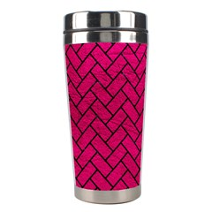 Brick2 Black Marble & Pink Leather Stainless Steel Travel Tumblers by trendistuff