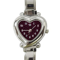 Brick2 Black Marble & Pink Leather (r) Heart Italian Charm Watch by trendistuff