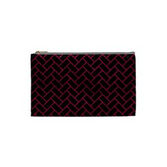 Brick2 Black Marble & Pink Leather (r) Cosmetic Bag (small)  by trendistuff