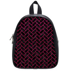 Brick2 Black Marble & Pink Leather (r) School Bag (small) by trendistuff