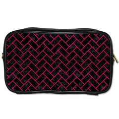 Brick2 Black Marble & Pink Leather (r) Toiletries Bags 2 Side by trendistuff