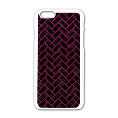 Brick2 Black Marble & Pink Leather (r) Apple Iphone 6/6s White Enamel Case by trendistuff