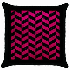 Chevron1 Black Marble & Pink Leather Throw Pillow Case (black) by trendistuff