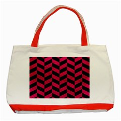 Chevron1 Black Marble & Pink Leather Classic Tote Bag (red) by trendistuff