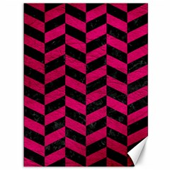 Chevron1 Black Marble & Pink Leather Canvas 36  X 48   by trendistuff