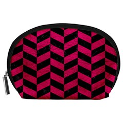 Chevron1 Black Marble & Pink Leather Accessory Pouches (large)  by trendistuff