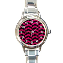 Chevron2 Black Marble & Pink Leather Round Italian Charm Watch by trendistuff