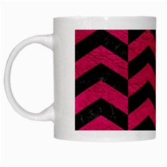 Chevron2 Black Marble & Pink Leather White Mugs by trendistuff