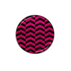 Chevron2 Black Marble & Pink Leather Hat Clip Ball Marker by trendistuff