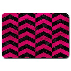 Chevron2 Black Marble & Pink Leather Large Doormat  by trendistuff