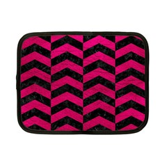 Chevron2 Black Marble & Pink Leather Netbook Case (small)  by trendistuff