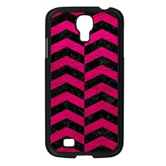 Chevron2 Black Marble & Pink Leather Samsung Galaxy S4 I9500/ I9505 Case (black) by trendistuff