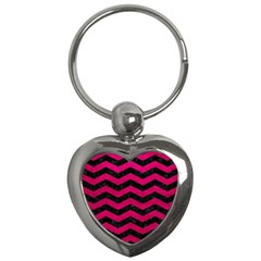 Chevron3 Black Marble & Pink Leather Key Chains (heart)  by trendistuff