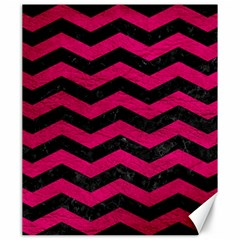 Chevron3 Black Marble & Pink Leather Canvas 20  X 24   by trendistuff