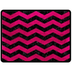 Chevron3 Black Marble & Pink Leather Double Sided Fleece Blanket (large)  by trendistuff