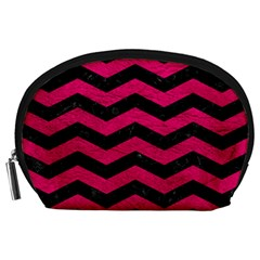 Chevron3 Black Marble & Pink Leather Accessory Pouches (large)  by trendistuff