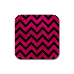 Chevron9 Black Marble & Pink Leather Rubber Square Coaster (4 Pack)  by trendistuff
