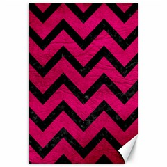 Chevron9 Black Marble & Pink Leather Canvas 12  X 18   by trendistuff