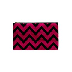 Chevron9 Black Marble & Pink Leather Cosmetic Bag (small)  by trendistuff
