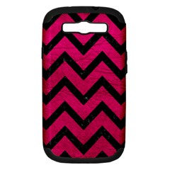 Chevron9 Black Marble & Pink Leather Samsung Galaxy S Iii Hardshell Case (pc+silicone) by trendistuff