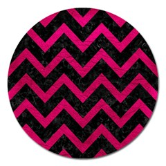 Chevron9 Black Marble & Pink Leather (r) Magnet 5  (round) by trendistuff