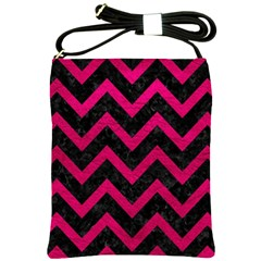 Chevron9 Black Marble & Pink Leather (r) Shoulder Sling Bags by trendistuff
