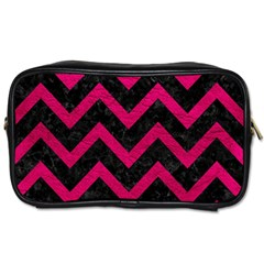 Chevron9 Black Marble & Pink Leather (r) Toiletries Bags 2 Side by trendistuff