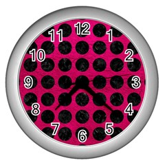 Circles1 Black Marble & Pink Leather Wall Clocks (silver)  by trendistuff