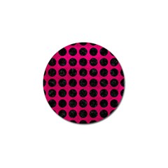 Circles1 Black Marble & Pink Leather Golf Ball Marker (10 Pack) by trendistuff
