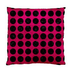 Circles1 Black Marble & Pink Leather Standard Cushion Case (one Side) by trendistuff