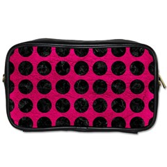 Circles1 Black Marble & Pink Leather Toiletries Bags 2 Side by trendistuff