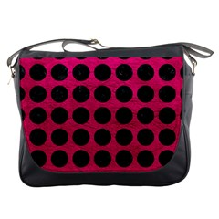 Circles1 Black Marble & Pink Leather Messenger Bags by trendistuff