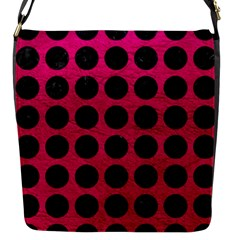 Circles1 Black Marble & Pink Leather Flap Messenger Bag (s) by trendistuff