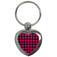 Circles1 Black Marble & Pink Leather (r) Key Chains (heart)  by trendistuff