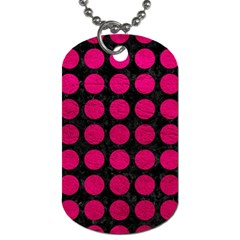 Circles1 Black Marble & Pink Leather (r) Dog Tag (two Sides) by trendistuff