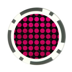 Circles1 Black Marble & Pink Leather (r) Poker Chip Card Guard by trendistuff