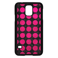 Circles1 Black Marble & Pink Leather (r) Samsung Galaxy S5 Case (black) by trendistuff