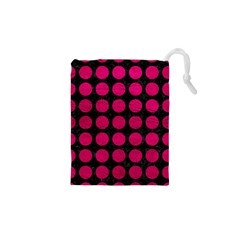 Circles1 Black Marble & Pink Leather (r) Drawstring Pouches (xs)  by trendistuff