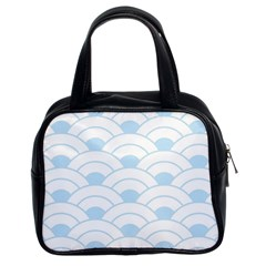 Blue,white,shell,pattern Classic Handbags (2 Sides) by 8fugoso