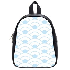Blue,white,shell,pattern School Bag (small) by 8fugoso