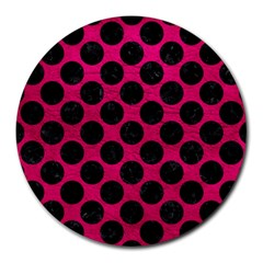 Circles2 Black Marble & Pink Leather Round Mousepads