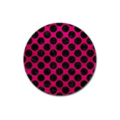Circles2 Black Marble & Pink Leather Magnet 3  (round) by trendistuff